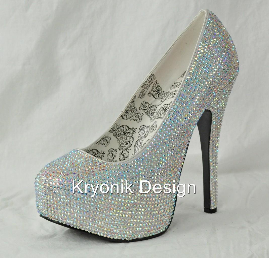 Bordello shoes Teeze-06R silver iridescent rhinestone ...
