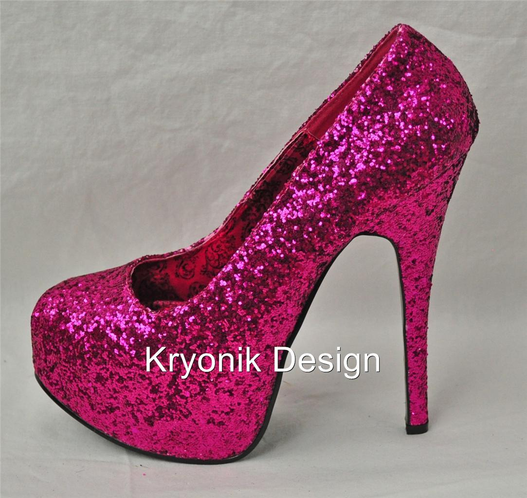 Bordello shoes Teeze-06G hot pink glitter platform pumps ...