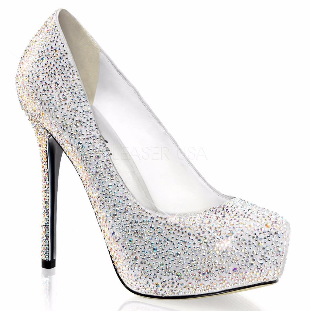 Pleaser Prestige-20 Weiß suede platform stiletto heels pumps rhinestones 9
