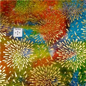 Metallic Gold Bursts on Brilliant Multicolor Cotton Gorgeous Montego Bay Batik
