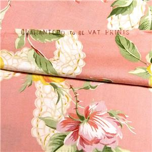 "17.5/""L x 36/""W 36/"" W Vintage Cotton Fabric Large Yellow /& Pink Roses"