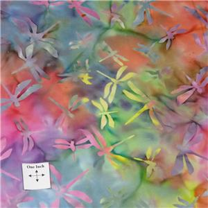 Cotton for Quilting /& Apparel Rainbow of Multicolors Dragonfly Batik