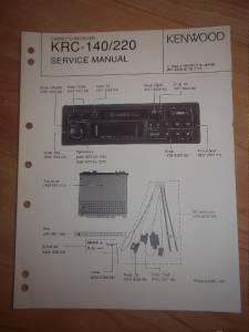 kenwood service manual krc 140 220 cassette receiver car. Black Bedroom Furniture Sets. Home Design Ideas