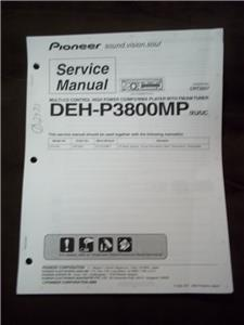 Pioneer Service Manual for the DEH-P3800MP Car Stereo Radio CD Player mp |  eBayeBay