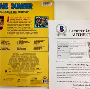 DUMB & DUMBER Cast Signed LaserDisc Album BAS Beckett COA w