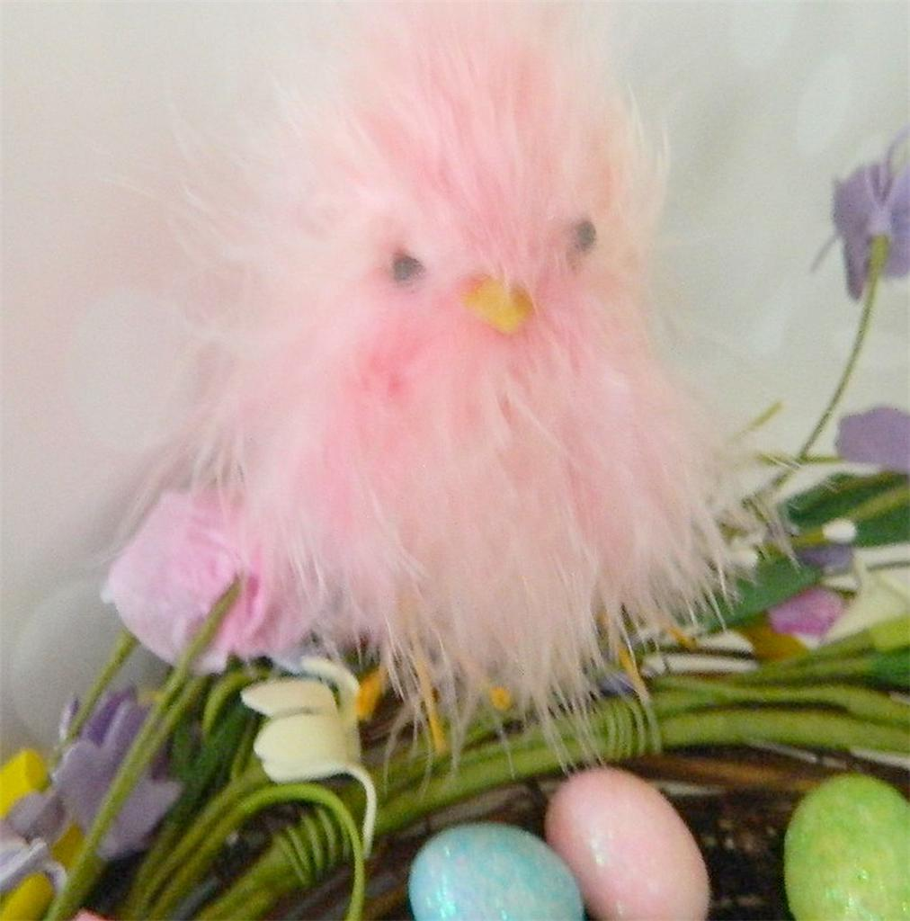 Two Silly Monkeys Easter Basket Wreath: PASTEL FEATHER PEEP CHICKS~SPRING~EASTER BASKET~WREATH