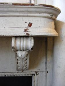 Antique Wooden White Distressed Painted Fireplace Old
