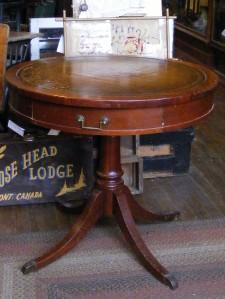 Vintage Mersman Round Pedestal Table W Leather Top Ebay