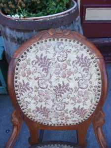 Old Antique Rose Carved Solid Wood Upholstered Sewing