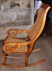 Antique Wood Lincoln Rocker Rocking Chair W Caned Seat