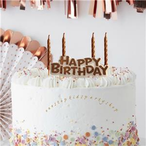 Details about Beautiful Metallic Rose Gold Birthday Candles \u0026 Cake Topper  Set,Decorations