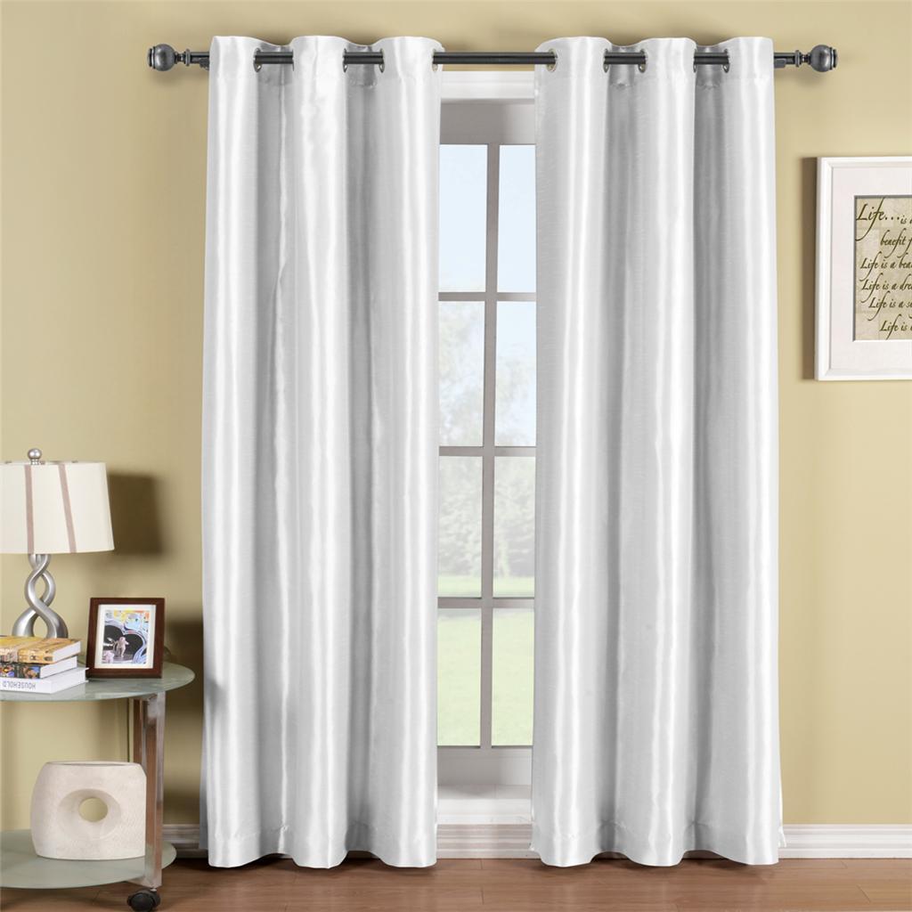 Soho White Grommet Blackout Window Curtain Panel Ebay