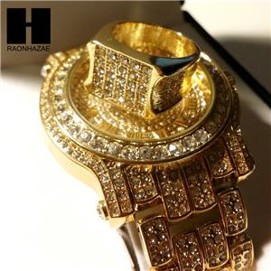 Techno Pave Iced Out 14k Gold Finished Lab Diamond Watch And Ring 2 Set Tp12g Ebay