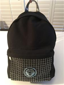 9f7f50927b NIB Authentic Versace VERSUS Black Canvas MEDUSA Eyelet Trimmed Backpack Bag