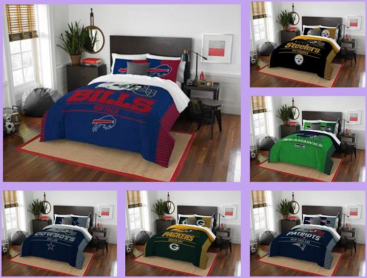 New York Jets QUEEN SIZE Printed Comforter Sham Set 3 Pc FULL