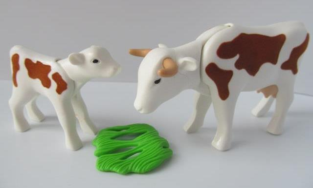 animals western Playmobil Brown Cow and Baby Calf for farm