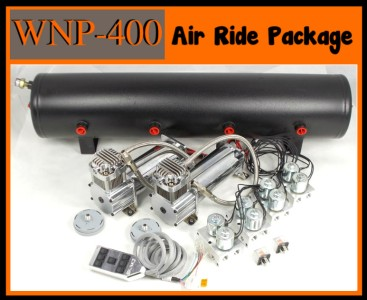 AIR RIDE Dual Compressor Chrome 7 SwitchBox Valve Tank System Kit 127