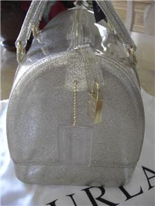 Furla Candy Gold Glitter Satchel Jelly Bauletto Bag W Lock Hang Tag