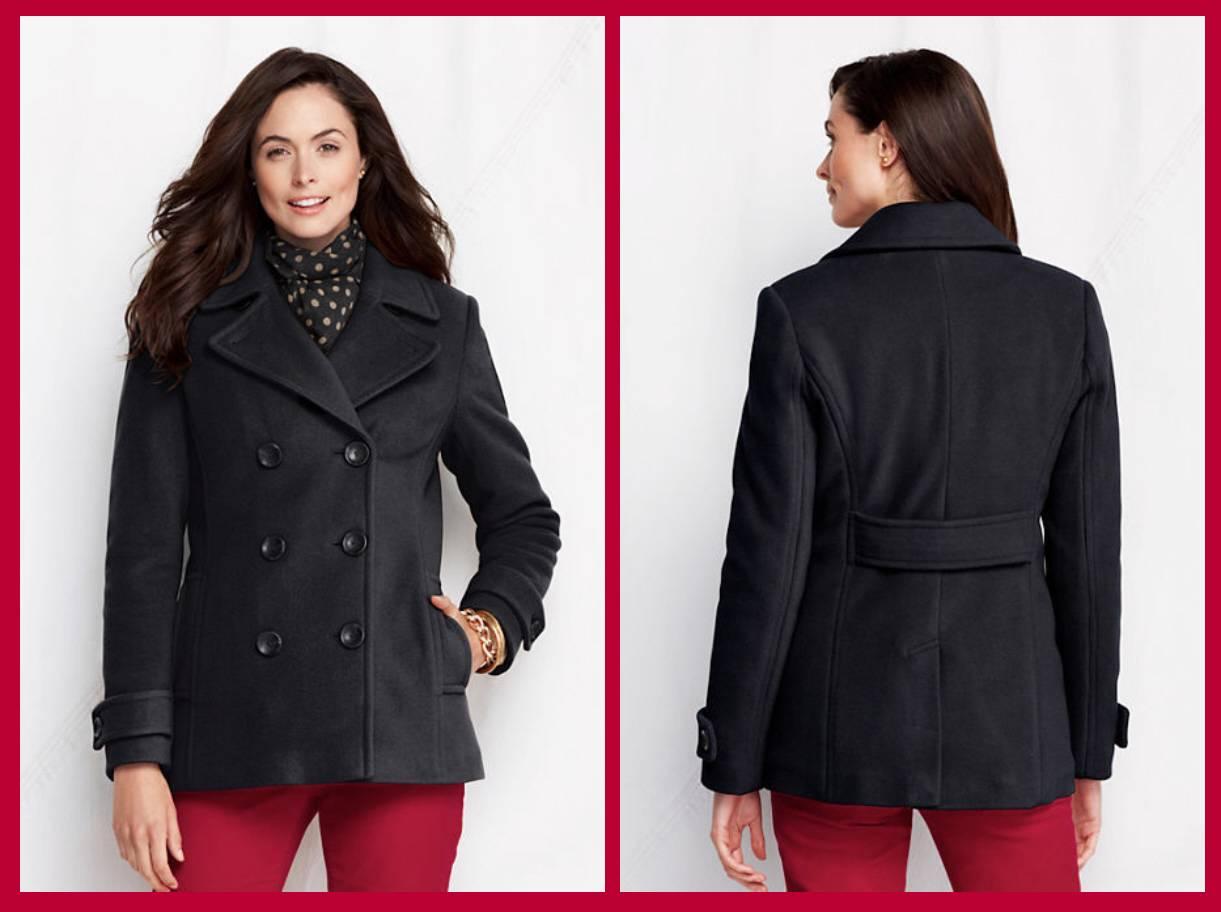 Lands End Luxe Wool Women S Insulated Pea Coat 190 Nip