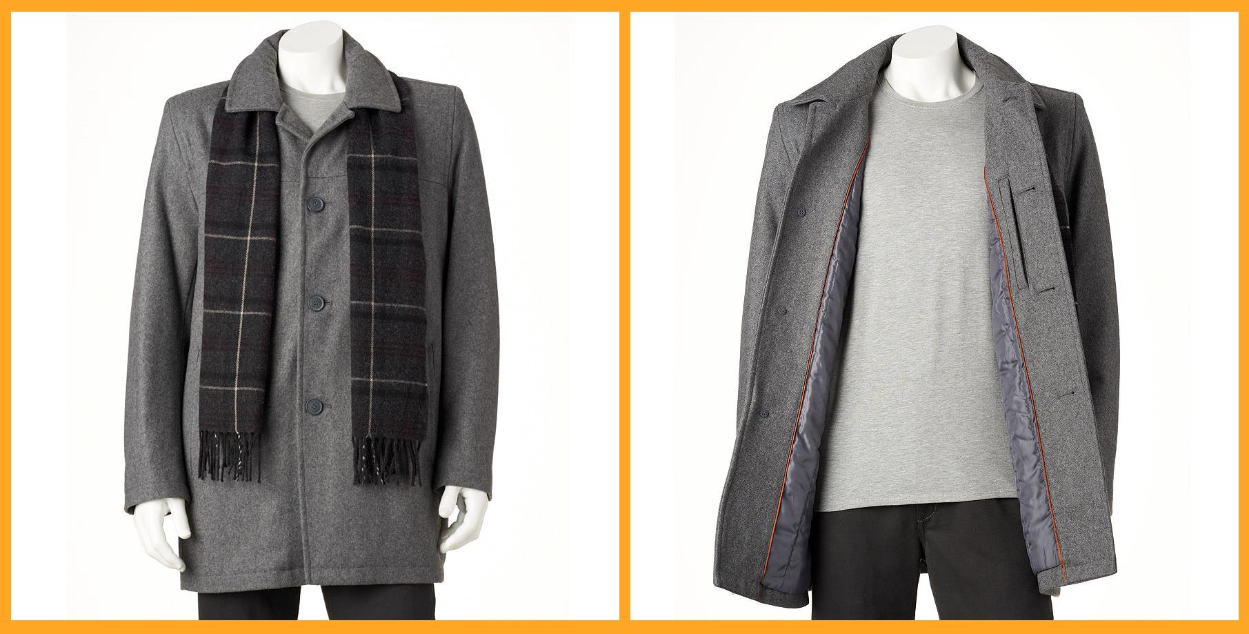 DOCKERS Single-breasted Melton Wool Men's Car Coat With Scarf ...