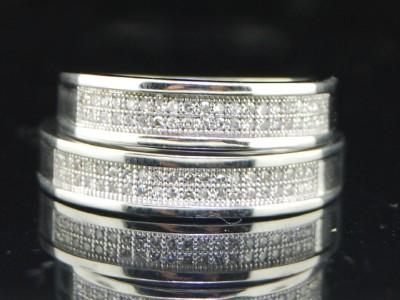 WHITE GOLD FINISH DIAMOND ENGAGEMENT RING WEDDING BAND DUO SET