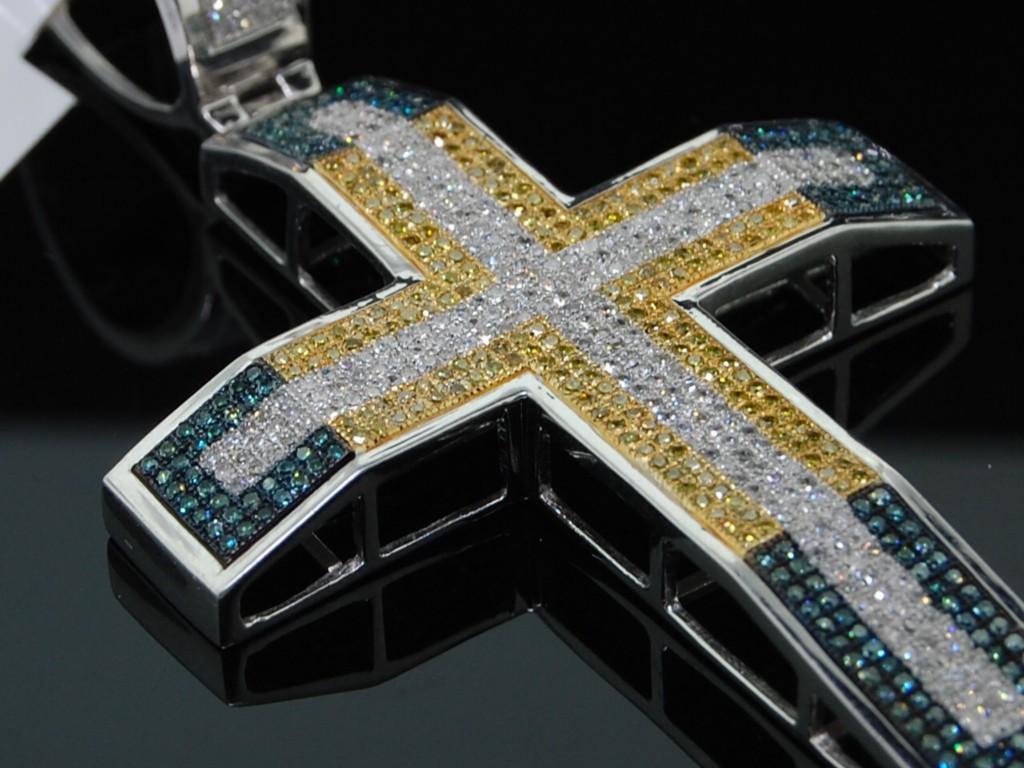 MENS WHITE GOLD FINISH 2.11 CT DIAMOND PAVE CROSS CHARM