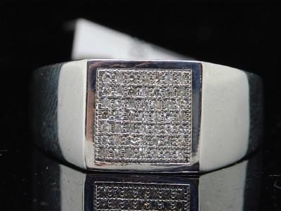 MENS WHITE GOLD FINISH BIG ROUND CUT PAVE DIAMOND PINKY RING