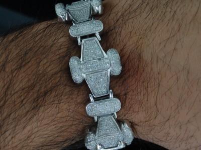 Mens White Gold Finish Bone Diamond Bracelet Pave 8ct