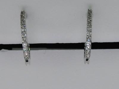LADIES WHITE GOLD PAVE DIAMOND ENDLESS HOOP EARRINGS