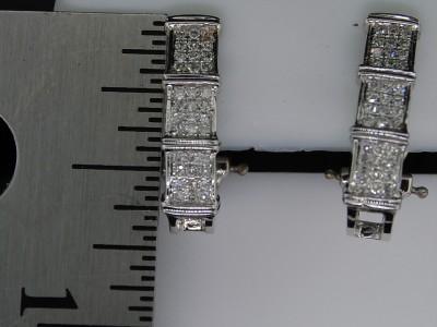 LADIES 10K WHITE GOLD .35CT DIAMOND EARRING HOOPS PAVE