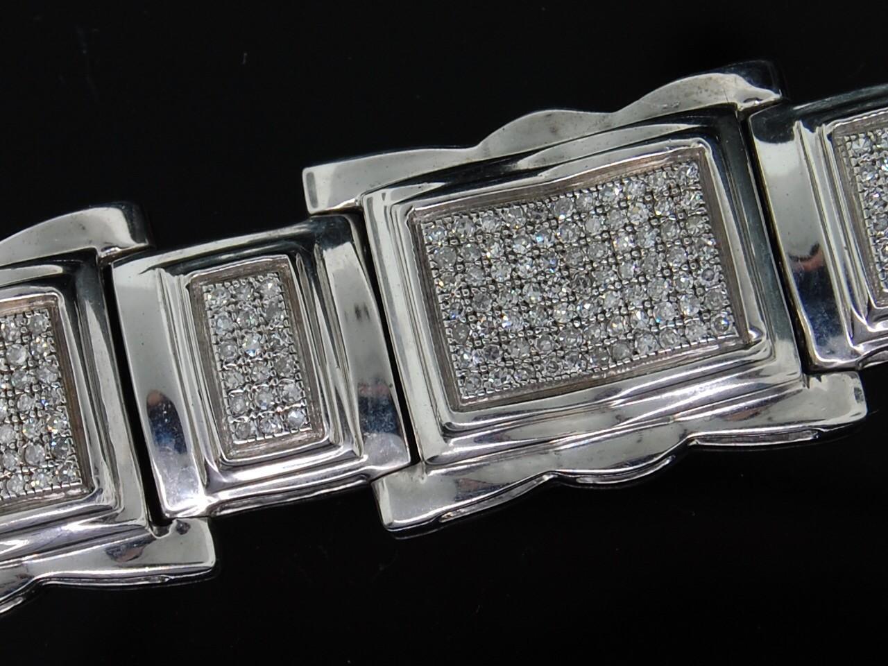 Mens White Gold Finish Diamond Bracelet Pave 2 3c