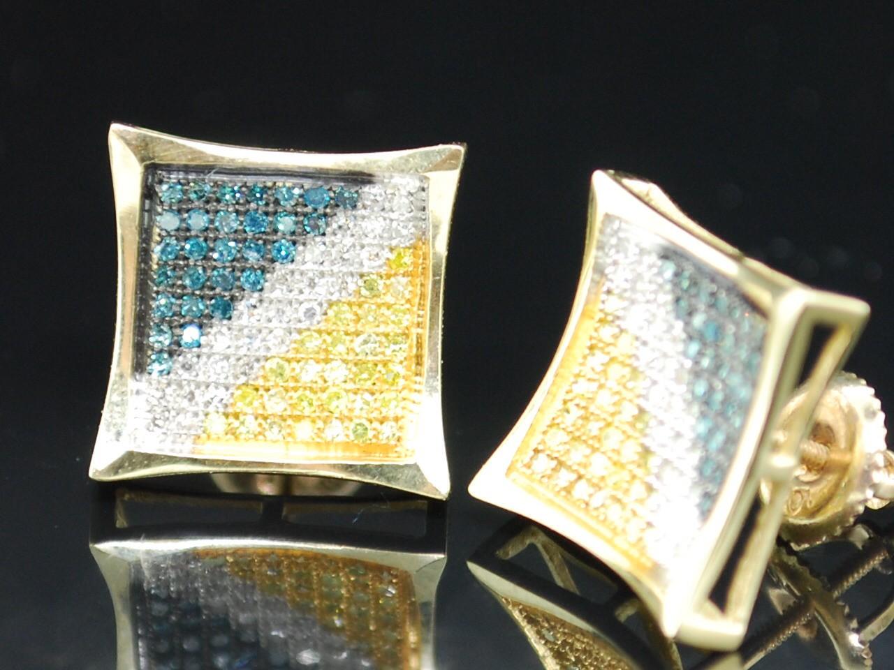 MENS/LADIES YELLOW GOLD .5C DIAMOND KITE STUD EARRINGS