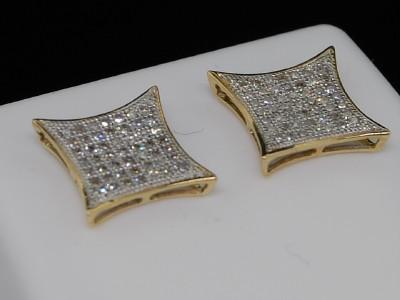 MENS LADIES YELLOW GOLD PAVE DIAMOND KITE STUD EARRINGS