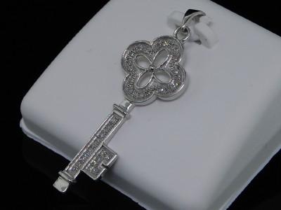 LADIES WHITE GOLD FINISH DIAMOND DESIGNER KEY PENDANT