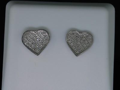 LADIES WHITE GOLD FINISH DIAMOND HEART STUD EARRINGS