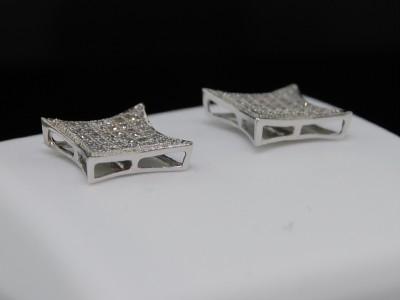 MENS LADIES WHITE GOLD FINISH DIAMOND STUD EARRINGS