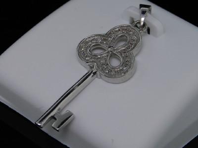 LADIES WHITE GOLD FINISH DIAMOND KEY LOCK CHARM PENDANT