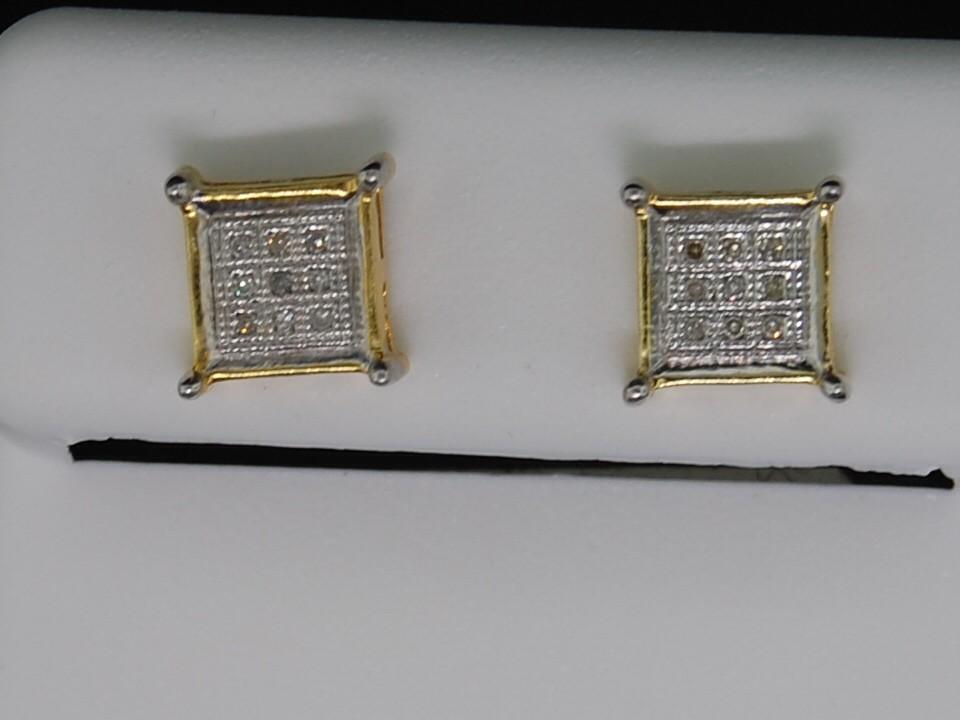 MENS LADIES YELLOW GOLD FINISH DIAMOND STUD EARRINGS