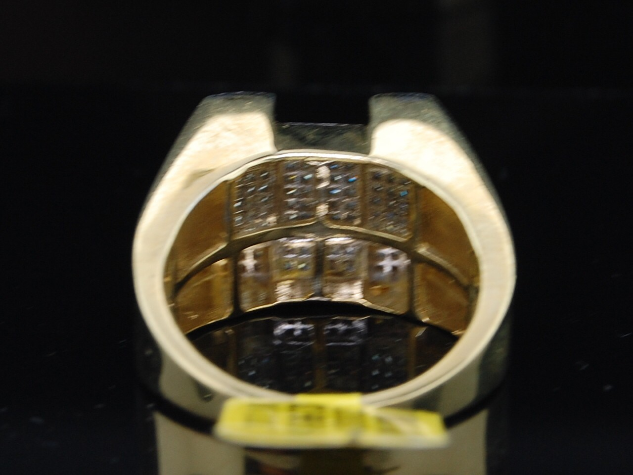 MENS 10K YELLOW GOLD PAVE DIAMOND SQUARE PINKY RING