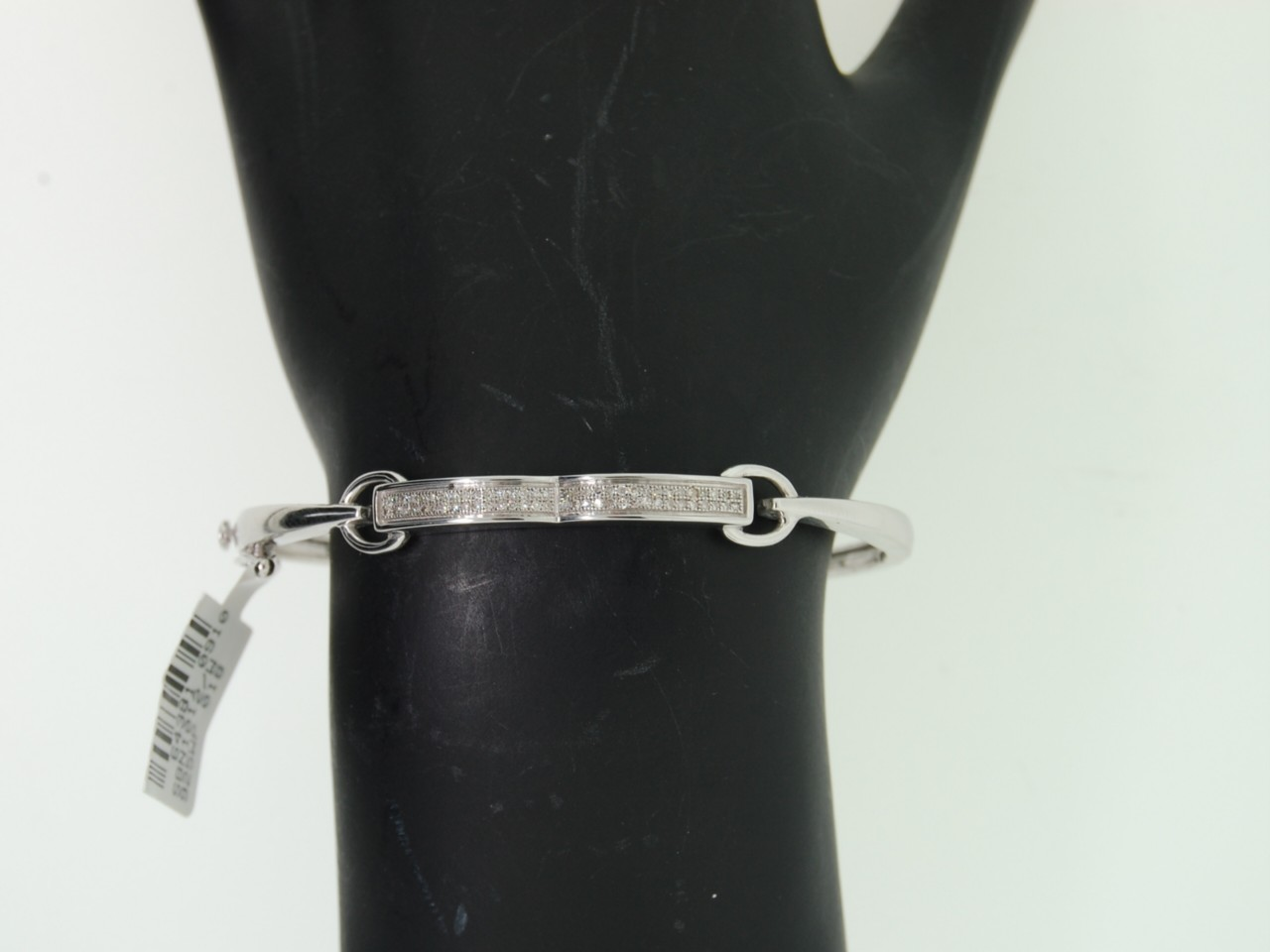Ladies White Gold Finish Pave Diamond Bracelet Bangle
