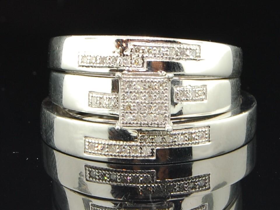 MENS LADIES WHITE GOLD FINISH DIAMOND MATCHING WEDDING TRIO SET