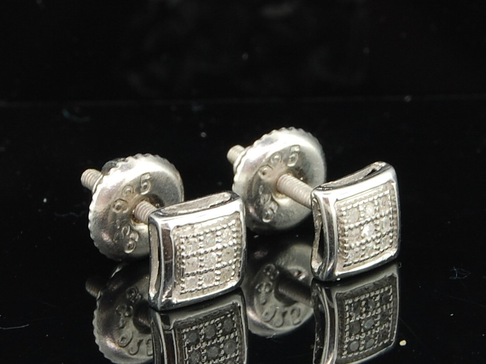 MENS LADIES WHITE GOLD FINISH WHITE DIAMOND PAVE STUDS EARRINGS PAVE