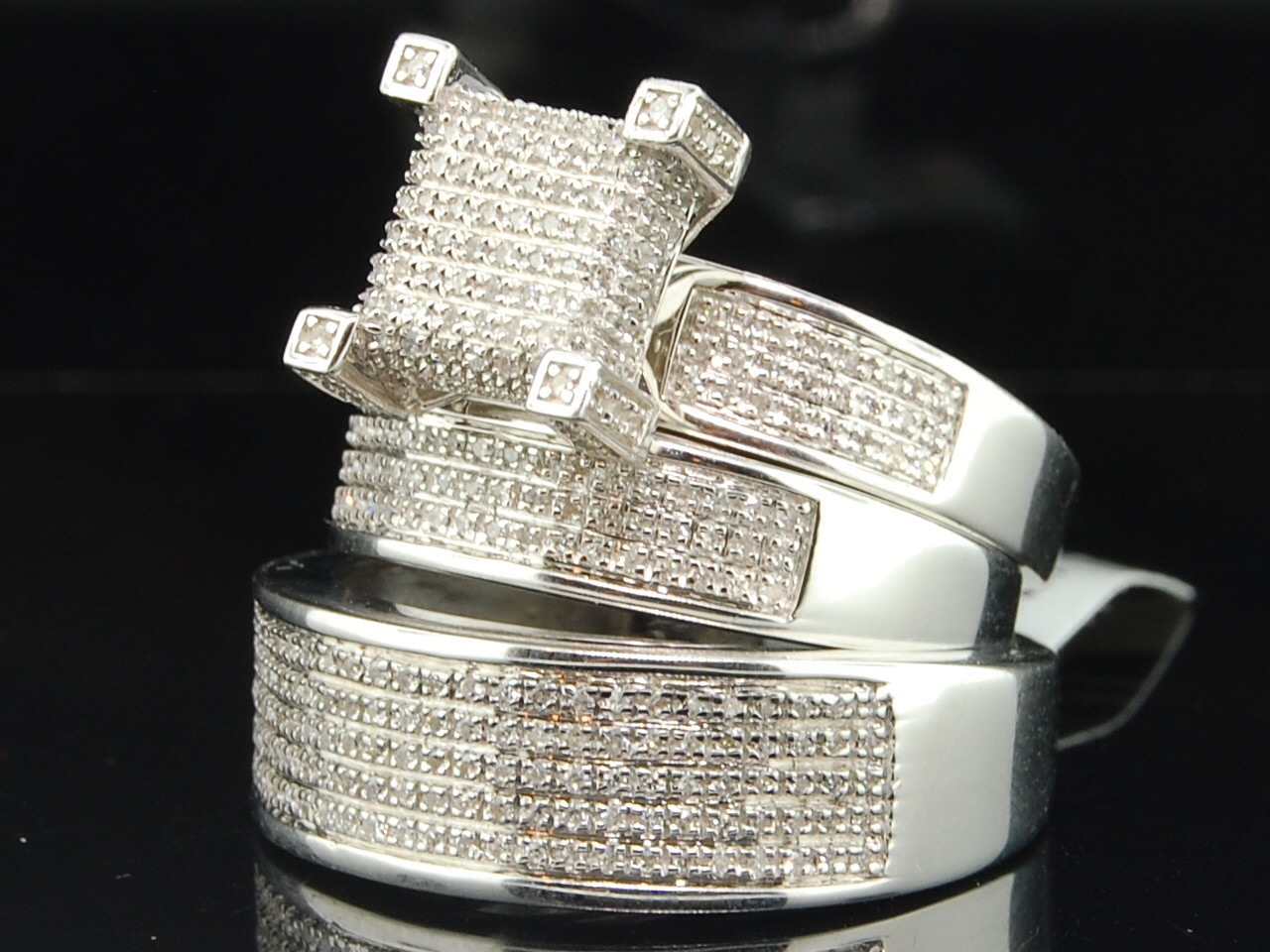 Men Ladies White Gold Finish Round Diamond Engagement Ring Wedding