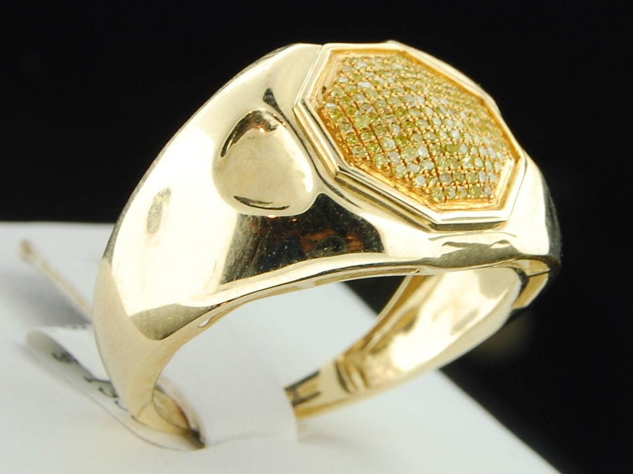 Mens 10k Yellow Gold Canary Yellow Diamond Pinky Ring