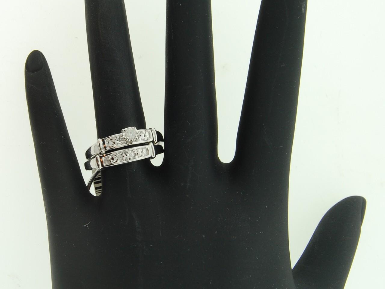 Mens Ladies White Gold Finish Diamond Engagement Ring Wedding Band