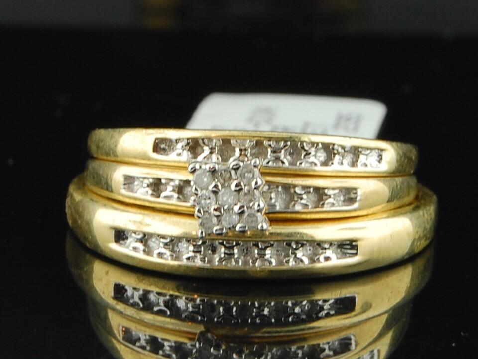 Mens Ladies Yellow Gold Finish Diamond Engagement Ring Wedding Band