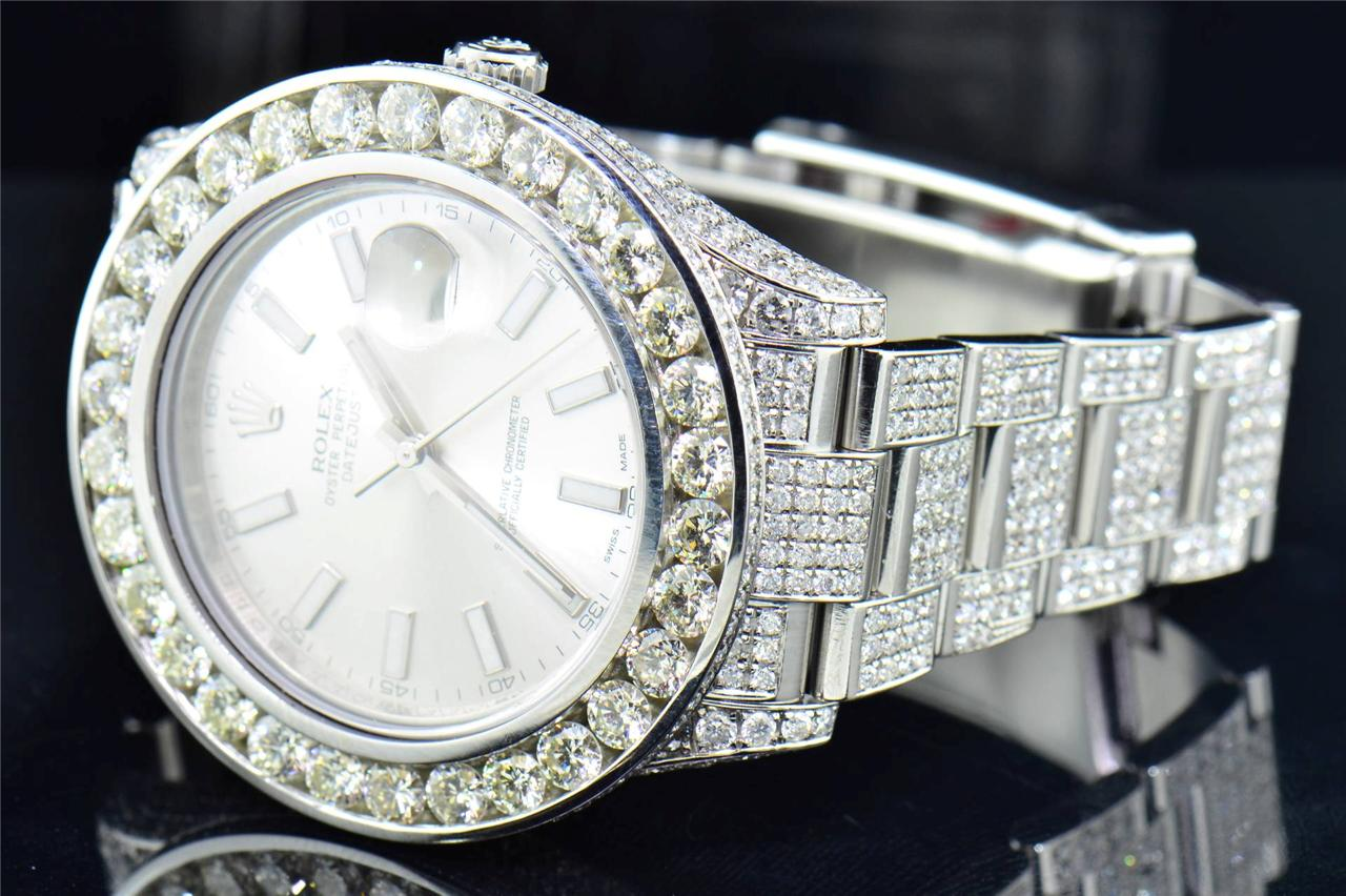 mens new rolex date just ii 2 iced out flooded with genuine diamonds 46 mm ebay. Black Bedroom Furniture Sets. Home Design Ideas