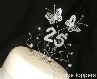 25th wedding anniversary cake toppers silver 25th wedding anniversary cake topper butterflies ebay 1073