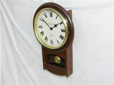 Knight Amp Gibbins Quartz Wall Pendulum Clock In Wooden Case