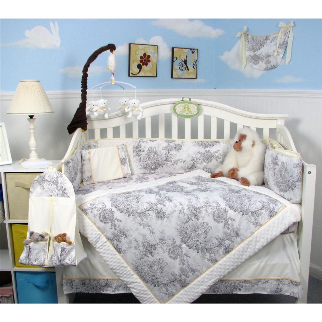 White Amp Charcoal French Toile Baby Crib Bedding Set 13 Pcs